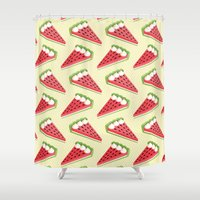 pie Shower Curtains featuring Watermelon pie by Petits Pixels