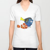 nemo V-neck T-shirts featuring Finding Nemo by Larissa