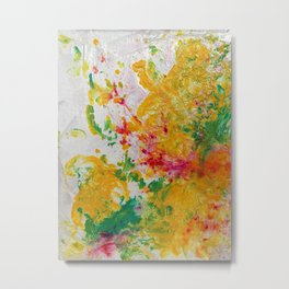Spring Floral #1 - Yellow, Green & Pink Abstract Pring Metal Print