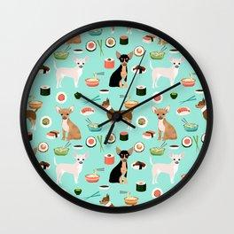 chihuahua sushi dog lover pet gifts cute pure breed chihuahuas multi coat colors Wall Clock