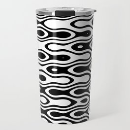 Asymmetry collection: black and white dynamic waves Travel Mug