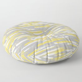 Colorful Stripes, Abstract Art, Yellow and Gray Floor Pillow