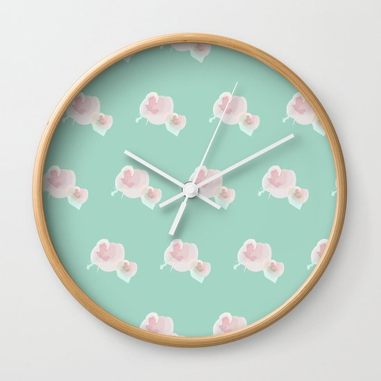 Dope Floral Teal Wall Clock