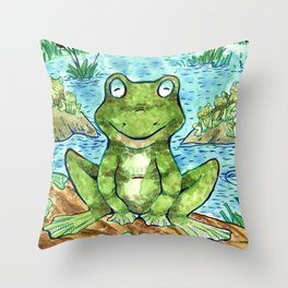 Chillin' Frogs Throw Pillow