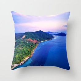 Tropical Sunset Island Sea Coast Throw Pillow