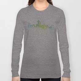 Seattle Skyline Watercolor Space Needle Painting Long Sleeve T-shirt