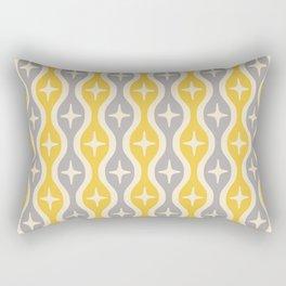 Mid century Modern Bulbous Star Pattern Yellow and Gray Rectangular Pillow