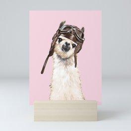 Cool Pilot Llama in Pink Mini Art Print