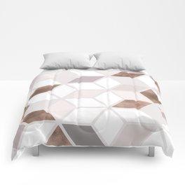 Golden Cubes II Comforters