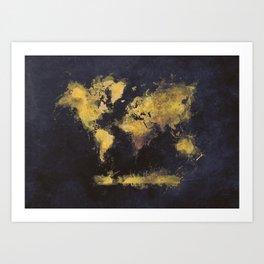 world map 65 yellow Art Print