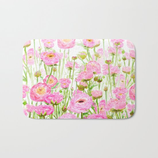pink buttercup ranunculus field watercolor Bath Mat