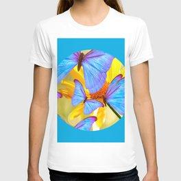 Shiny Blue Butterflies On A Yellow Flower #decor #society6 #buyart T-shirt