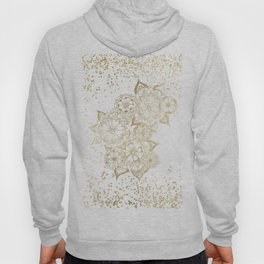 Hand drawn white and gold mandala confetti motif Hoody