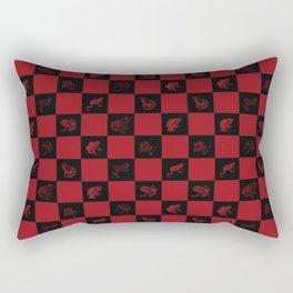 Checkered red frog art print Rectangular Pillow