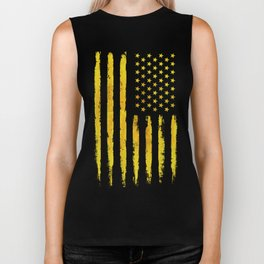 Gold grunge american flag Biker Tank