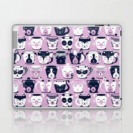 Cuddly Tea Time // white navy & light orchid pink animal mugs Laptop & iPad Skin