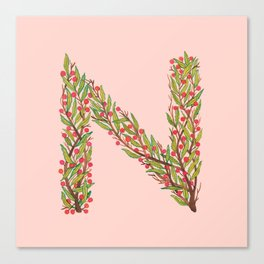 Leafy Letter N Canvas Print