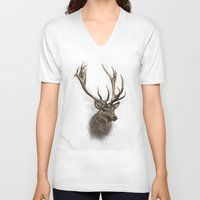 stag V-neck T-shirts featuring stag by emegi