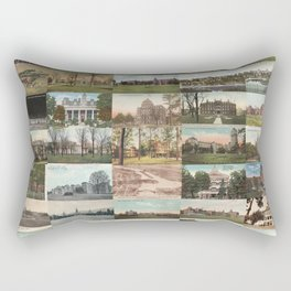 Kirkbride Asylum Vintage Postcard Collage Rectangular Pillow