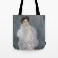 gustav klimt Tote Bags featuring Portrait of Hermine Gallia by Gustav Klimt by Palazzo Art Gallery