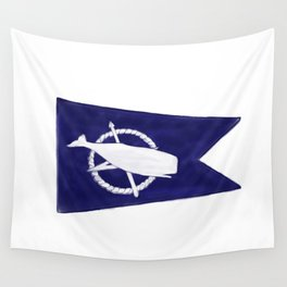 Nantucket Blue and White Sperm Whale Burgee Flag Hand-Painted Wall Tapestry