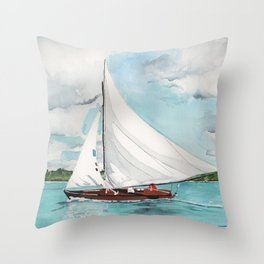 Sail Away watercolor painting of sailboat on turquoise waters Throw Pillow