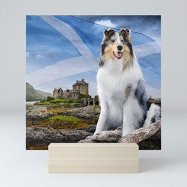 Blue Merle Rough Collie at Eilean Donan Castle - Variant with Scottish Flag Mini Art Print