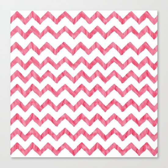 Chevron Red And White Canvas Print