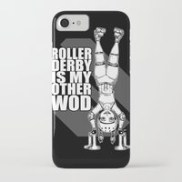 crossfit iPhone & iPod Cases featuring Roller Derby is My Other Wod Crossfit by RonkyTonk