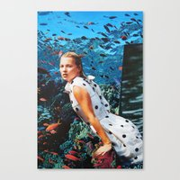 kate moss Canvas Prints featuring Kate Moss by John Turck
