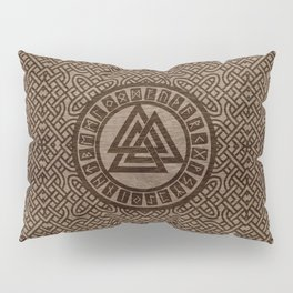 Valknut Symbol and Runes on Celtic Pattern on Wood Pillow Sham