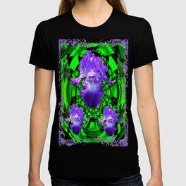 Delicate Lilac-Black-Green Purple Iris Garden Design T-shirt