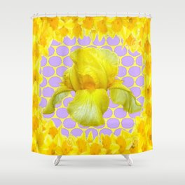 ABSTRACT YELLOW SPRING IRIS GOLDEN DAFFODILS FRAME Shower Curtain