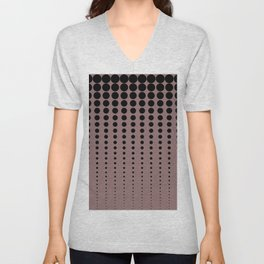 Reduced Black Polka Dots Pattern on Solid Pantone Red Pear Background Unisex V-Neck