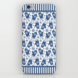 Wintery Blue Snowflake Mittens iPhone Skin