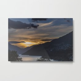 Sunset on Queenstown and Lake Wakatipu Metal Print