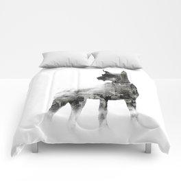 Doberman Pinscher NYC Skyline Comforters