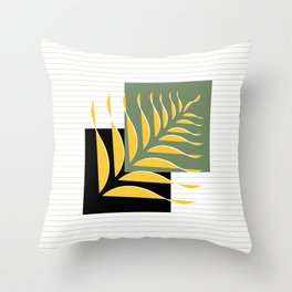 Abstract Leaves and square Art II Throw Pillow