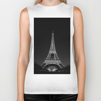 eiffel tower Biker Tanks featuring Eiffel Tower by alexaxm