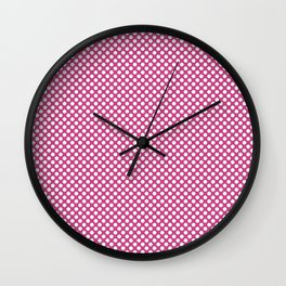 Raspberry Rose and White Polka Dots Wall Clock