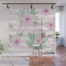 Rose Stripe Succulents - Pink and Mint Green Cactus Pattern Wall Mural