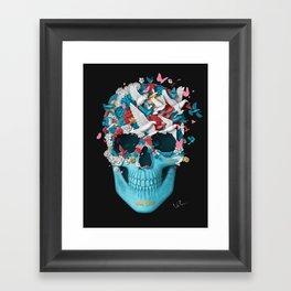 Skull Wings Black Framed Art Print