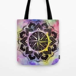 """""""Rose of the Winds""""  WATERCOLOR MANDALA (HAND PAINTED) BY ILSE QUEZADA Tote Bag"""