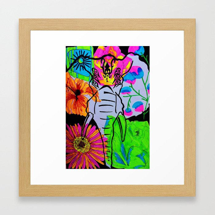 psychedelic elephant  Framed Art Print