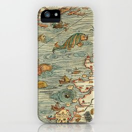 Medieval Map Scandinavia 1539 iPhone Case