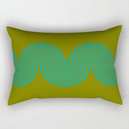 groovy minimalist pattern aqua waves on olive Rectangular Pillow