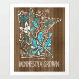 Minnesota Home Grown State Art Blue Style  Art Print