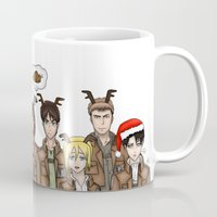 levi Mugs featuring Christmas with Squad Levi 2.0 by PaigeAWArt