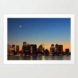 Crescent Moon Over the Boston at Sunset Skyline Boston MA Art Print