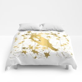 Cheer Life Design in Gold with Stars Comforters